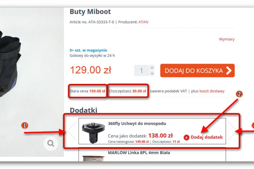 Frontend - dodatki ecommerce - dodaj:usuń